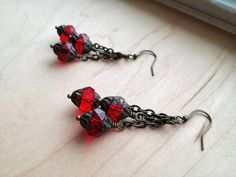 Your place to buy and sell all things handmade Moroccan Chandelier, Goth Glam, Cluster Earrings, Red Garnet, Czech Glass Beads, Red Color, Antique Brass, Lantern, Boho Chic