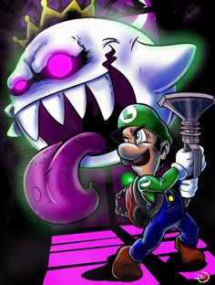 Luigi and King Boo from Luigi's mansion Cartoon Video Games, Cartoon Art, Mario Tattoo, King Boo, Super Mario Art, Luigi's Mansion, Super Mario Brothers, Video Game Art, Nintendo