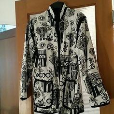 Black and white elephant print jacket Reversible jacket (black lining) Jackets & Coats
