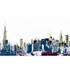 New York City Skyline - layers of towers Mid Town Manhattan building... ($30) ❤ liked on Polyvore