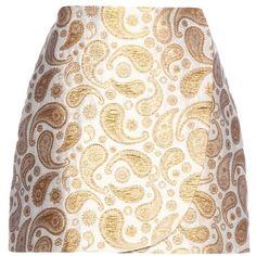 Stella McCartney Beth Paisley Jacquard Miniskirt (1.555 BRL) ❤ liked on Polyvore featuring skirts, mini skirts, white, stella mccartney, mini skirt, short mini skirts, short white skirt and paisley skirt