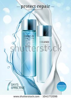 Stock Vector: Skin care ads, lotion and cream products in light blue package with splashing liquid and cream in 3d illustration, bokeh glitter background -