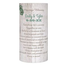Whitewash Teal Rustic Wedding/Anniversary Flameless Candle