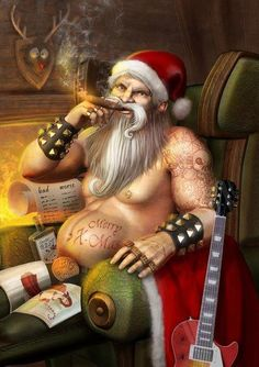 25 Funny Santa Claus Pictures and Digital Artworks for you Dark Christmas, Father Christmas, Christmas Art, Christmas Stuff, Christmas Ideas, Bad Santa, Humor Satirico, Funny Humor, Holidays Events