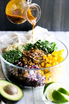 Sweet and spicy come together in this Quinoa Mango Black Bean Salad with Smoky Pepitas and Chipotle Lime Vinaigrette. Perfect for lunch, potluck or picnic. It's meal prep ready! This lunch recipe vegetarian, vegan and gluten free. Salad Dressing Recipes, Salad Recipes, Salad Dressings, Healthy Salads, Healthy Eating, Whole Food Recipes, Cooking Recipes, Lime Vinaigrette, Vegetarian Recipes