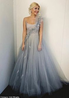 Holly Willoughby channels a fairytale princess in a blue tulle gown on Dancing on Ice Holly Willoughby Style, Ice Dresses, Long Dresses, Prom Dresses, Fairytale Gown, Bridal Gowns, Wedding Dresses, Wedding Wear, Blue Gown