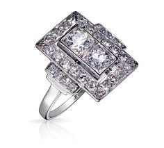 Bague Art Deco ROXANE Or Blanc et Diamant. Bague ancienne. #bague #artdeco #orblanc #diamants #ancienne #bijoux #luxe #valeriedanenberg