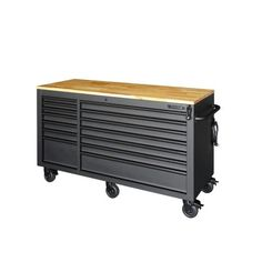 Husky Heavy-Duty 62 in. W 14-Drawer, Deep Tool Chest Mobile Workbench in Matte Black with Adjustable-Height Hardwood Top-HOLC6214BB1MYS - The Home Depot Mobile Workbench, Diy Workbench, Industrial Workbench, Husky Tool Box, Tool Storage Cabinets, Soft Close Drawer Slides, Electronic Recycling, Innovation Design, Matte Black