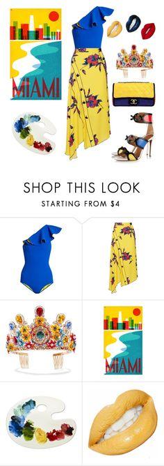 """Yellow blue red fun"" by ellenfischerbeauty ❤ liked on Polyvore featuring Lisa Marie Fernandez, Proenza Schouler, Aquazzura, Dolce&Gabbana and summerfun"