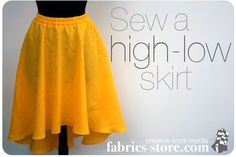 How to draft and sew a high-low hemline skirt. [This is basically a circle-skirt with an asymmetric; off-set hem that is shorter at the front and longer at the back.]
