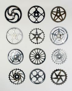Vintage Bicycle Sprockets A collection of 12 vintage and antique bicycle sprockets. ranging in size between 7 and 8 1/2'.