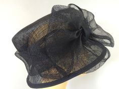 c850caf4 Ladies Occasion Formal Wedding Races Mother Bride Hat Navy Large Bow | eBay