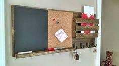 Mail Organizer, Rustic Organizer, Key Holder, Mail Holder, 4 Hooks Cork Board and Chalk Board