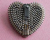 Industrial Looking Vintage Zipper Brooch