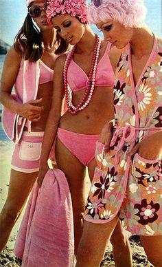 60s Vintage pink beachwear bikini cover up wrap robe swim pool resort fashion photo print ad . See our fave retro swimwear for women http://www.burlexe.com/vintage-swimwear-for-women/