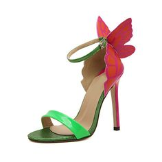 Green Slingbacks With Butterfly High Heeled Sandals (1.870 RUB) found on Polyvore featuring shoes, sandals, green, slingback sandals, butterfly shoes, peep toe shoes, green shoes and green stilettos