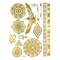 Wrapables Celebrity Inspired Temporary Tattoos in Metallic Gold Silver and Black, Large, Egyptian Motif * You can get additional details at the image link. (This is an affiliate link)