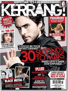 I like the fact that some aspects of the contents page is like, some of Jared Leto's hand is in front of the mast head, but the rest of him is behind. I also like the fact that the mast head is transparent All Time Low, All About Time, Thirty Seconds, 30 Seconds, Good Music, My Music, Magazine Examples, Zakk Wylde, Content Page