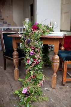 cascading floral table runner / http://www.deerpearlflowers.com/greenery-fern-wedding-ideas/