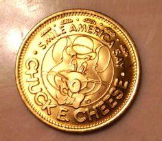 1 Brass Chuck E Cheese Token Showbiz Pizza Place Collectible 1984 Arcade Coin | eBay