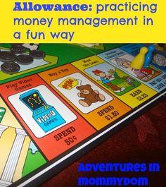 Fun game to secretly teach kids about money. Allowance money management game