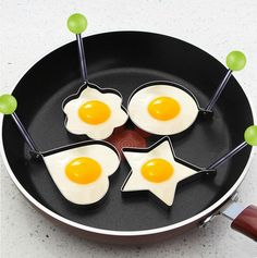 Frying egg molds. Star, heart, flower, circle.