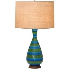 Large Bitossi for Raymor, Blue and Green Striped Italian Pottery Lamp   From a unique collection of antique and modern table lamps at https://www.1stdibs.com/furniture/lighting/table-lamps/