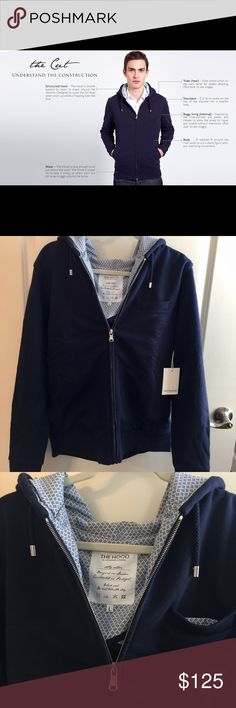 "The ""Hood"" by L'Estrange London Navy Blue, Sz L NEW with tags, Navy Blue, size Large, The ""Hood"" L'Estrange full-zip jacket. Has a diamond-print pattern inside lining; 3 front pockets; and silver hardware. This is a gorgeous, upscale jacket that can be worn casual or dressy. Look on L'Estrange website for full detail about the company, etc. L'Estrange Shirts Sweatshirts & Hoodies"