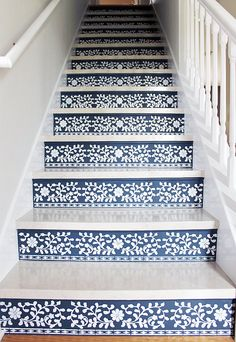 Swoonworthy Staircase Makeover Ideas Painted Staircases and Painted Runners - - Step up your decor with a beautiful staircase makeover! Check out these swoonworthy staircase makeover ideas featuring stenciled and painted staircases. Stenciled Stairs, Painted Stairs, Painted Wood, Marble Stairs, Floating Stairs, Wood Stairs, Tile Stairs, Brick Steps, Painted Staircases