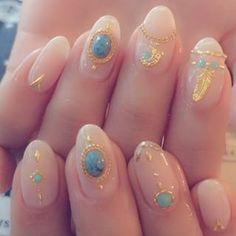 #nail#nails#japanesenail#nailgram#川崎#ネイルサロン#美甲#指甲#네일#젤네일#긴손톱#feather#羽#フェザーネイル#ヌーディー#クリアネイル#turquoise#ネイル#ジェルネイル