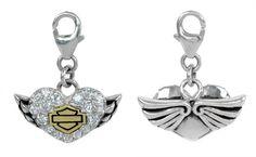 harley davidson survival bracelet | Harley-Davidson® MOD® Heart With Wings Bling Charm HDC0051