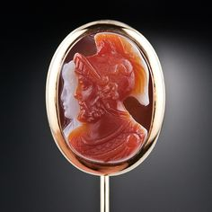 Victorian Carved Tri-Colored Cameo Portrait Stick Pin Of A Roman Centurion Dressed In Full Regalia And  Mounted In 14k Yellow Gold   c.1890