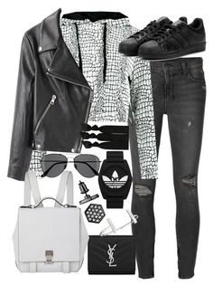 """""""Untitled #19427"""" by florencia95 ❤ liked on Polyvore featuring Ksubi, Acne Studios, adidas, adidas Originals, Yves Saint Laurent, H&M, Simply Vera, French Connection, Proenza Schouler and Emi-Jay"""