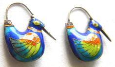 Vintage Laurel Burch Earrings Enamel Birds Sterling Vermeil Hoops Blue Purple
