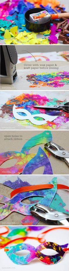 Crayon shavings make a great way to color these cool DIY Mardi Gras masks for kids! | crayon art projects for kids