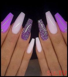 Purple Acrylic Nails, Summer Acrylic Nails, Best Acrylic Nails, Purple Nails, Summer Nails, Red Nails With Glitter, Cute Spring Nails, Purple Glitter, Nail Art Designs Images