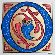 Day 101: Illuminated Letter Owl - Created by Tanya Green
