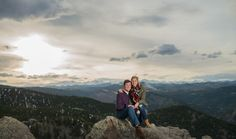 Lost Gulch Overlook Proposal Engaged Couple Sitting on the Rocks