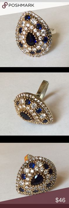 925 Sterling Silver Sapphire Topaz Ring Size 7.75 Beautiful elegant Sterling Silver and bronze, Sapphire Topaz Ring Size 7.75, Length size is 2.4 Cm, Width  Size is 2Cm. Turkish Style Jewelry Rings
