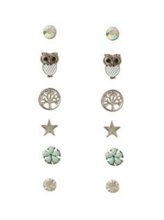 LOVEsick Owl Tree Star Earrings 6 Pair