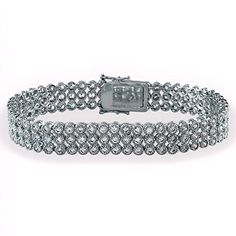 """.925 Sterling Silver 7"""" Women's Triple Row Tennis Bracelet Set in CZ Stones with Bezel Setting -- Read more at the affiliate link Amazon.com on image."""