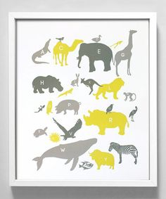 Take a look at this Yellow & Gray Alphabet Animals Print by Gus & Lula on #zulily today! For the kids area