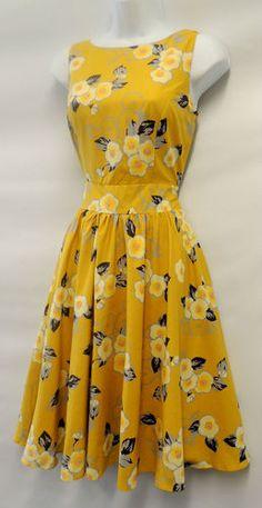 New Ladies Vtg 1950s/60s Yellow floral full circle skirt Audrey swing Dress | eBay