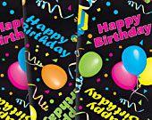 "Happy Birthday Napkins 17""x17"" Black Background, Bright Colors"