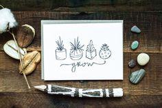 Succulents / Grow - greetings card - Light Rust Studio