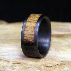 Jack Daniels Wood Carbon Fiber Wedding Band or Ring Authentic Aged Barrel Wood on Etsy, $99.00