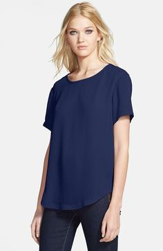 $44, Navy Crew-neck T-shirt: Tildon Woven Curved Hem Tee Navy Peacoat Large. Sold by Nordstrom. Click for more info: https://lookastic.com/women/shop_items/70181/redirect