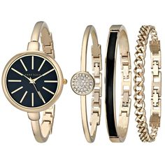 Anne Klein Women's AK/1470GBST Gold-Tone Watch and Bracelet Set   Imported  32mm round gold-tone case  Black glossy dial with gold-tone stick markers at all hours; gold-tone hour, minute, and second hands  Polished gold-tone bangle bracelet with adjustable end links; jewelry clasp closure and extender  Watch comes with bracelet set that includes 1 gold-tone bangle with black enamel filling ,1 gold-tone bangle with clear Swarovski crystal accented center piece, and 1 gold-tone chain bracelet