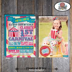 Carnival Party - Circus Party - Invitation & Wrap Around Address Labels With Photo - Pink Blue Yellow - Customized Printable (Girl, Vintage)...
