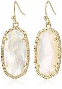 Amazon.com: Kendra Scott Signature Dani Earrings in Gold Plated and Ivory Mother-Of-Pearl: Jewelry